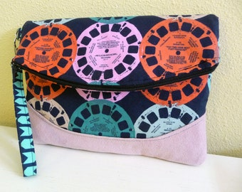 Foldover Clutch Wristlet Bag in Viewfinder Reels Fabric