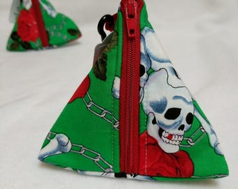 Handmade Red Roses & skulls on green Pouch Bag / Purse / Dog Poop Bag or treat carrier with metal Carabiner to attach to book bag or Handbag