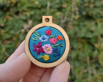Necklace pendant- Floral hand embroidery