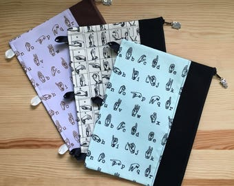 ASL Sign Language Pencil Pouch for 3 ring binder