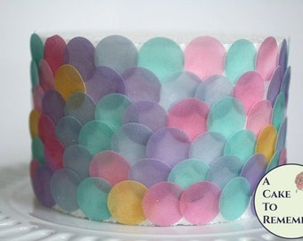 """Mermaid party decorations, 160  1"""" wafer paper dots. For under the sea parties to make fish scales and mermaid cake decorations"""
