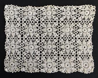 Crocheted Doily. 1960s Pattern Vintage White Crocheted Oblong Lace Doily. Antique Linen White Colour Oblong Crocheted Doily. RBT1391