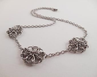 Flower Statement Necklace - Stainless Steel Celtic Visions Flower Chain Maille Statement Necklace
