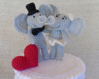 Elephants and heart wedding cake topper for your cake wedding figurine