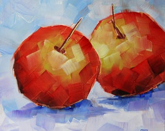 Still life with apples, original fruit painting, red apples, Bobapainting