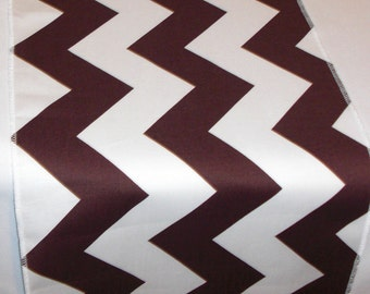 Eco Friendly Brown and White Chevron Table Runner