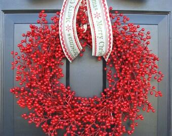 Christmas Wreath Berry Wreath Custom Holiday Bow, Holiday Decor, Merry Christmas Holiday Wreath, Red Berries, Designer Ribbon