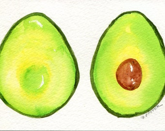 Avocados watercolor painting original 4 x 6 kitchen wall art, kitchen decor,  watercolor painting of avocados, small watercolour art
