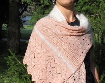 """KNITTING PATTERN pdf version to print - in french - stole model """"Judy"""""""