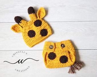 Baby Crochet Giraffe Hat and Diaper Cover Set Newborn Giraffe Outfit