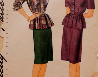 1940s Two Piece Dress, Peplum, Simplicity 1110 Vintage Dress Pattern, Bust 34