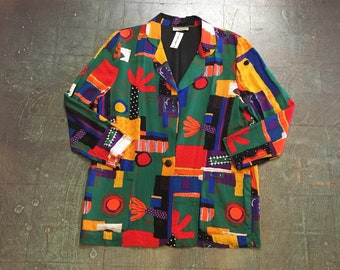Vintage 90s blazer suit jacket // women's size M medium // multi colored abstract geometric ethnic print // spring 2018