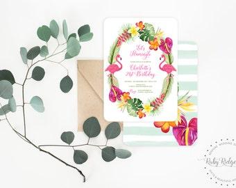 Printable Birthday Invitation | Let's Flamingle Tropical Birthday | Tropical Birthday Invitation | First Birthday | 30th Birthday