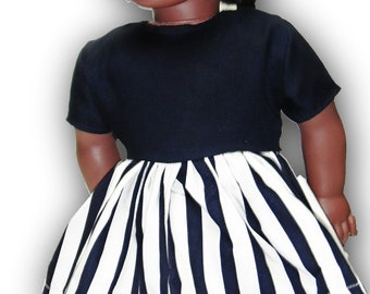 "Navy Blue & White stripes Short Sleeve Knee Length Dress 18"" Doll Clothes Dress w/ Concealed Back Zipper"