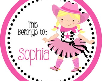 Personalized Name Label Stickers - Adorable Pink Black Polka Dot Cowgirl Name Tag Stickers - 2 inch Round Tags - Back to School Name Labels