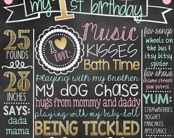 Mint Pink Gold First Birthday Chalkboard |  1st Birthday Chalkboard Sign | First Birthday Chalkboard Girl | First Birthday Poster