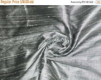 15% OFF One yard of silver color 100 percent pure  dupioni silk