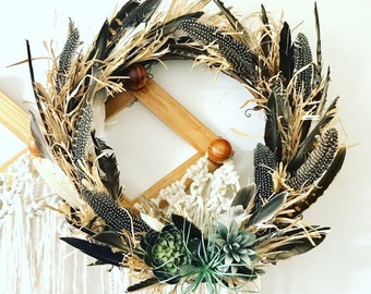 Bohemian fall feather door wreath/fall door wreath/fall decor/custom wreath/autumn door wreath/autumn decor/bohemian decor/fall decor/home