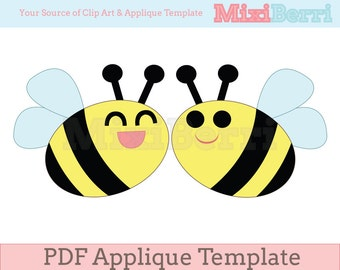 Happy Bees Applique Template PDF Instant Download