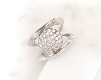 ARP-05: Circle cubic zirconia and sterling silver sculpture ring.