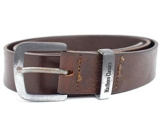Marlboro Classic Vintage Mens Leather Belt Brown Size 38