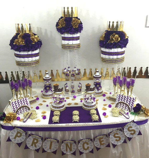 Purple And Gold Princeprincess Candy Buffet Diaper Cake