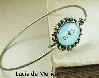 YEAR END SALE - Initial  bracelet, Personalized gift, two initials, oval cabochon bracelet, personalized jewelry, Custom bracelet.