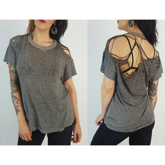 80s 90s Holey Distressed Shredded Tee - Medium Ripped Grunge Tshirt - Gray Faded Thrashed Shirt - Vintage Grungy Worn Sheer T-Shirt