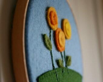 Little Garden: Wool Felt Flowers, Embroidery Hoop Wall Art, yellow and orange