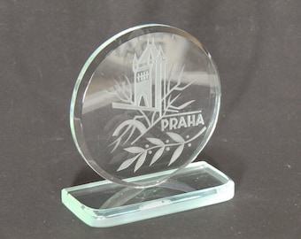 Bohemian Czech Art Cut Glass Paperweight Praha Prague