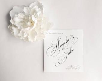 Wedding Program Booklets, Classic Programs, Black and White Wedding Booklets, Classic Program, Pretty Script, Once Charmed Program Sample