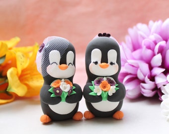 Same sex Penguin wedding cake toppers - personalized lesbian gay 2 brides or 2 grooms - homosexual pride girls women orange burgundy decor