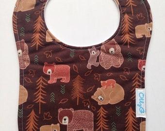 TRIPLE LAYERS - Dry Bub Bib - Bears in the woods