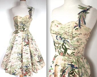 Vintage 1950s Dress // 50s Gladys Williams Bird of Paradise Print Party Dress // Song of the Islands // DIVINE
