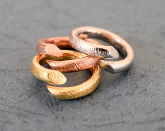 Smooth Hammered Silver Ring,925 Solid Sterling Silver, Polished,Yellow Gold Plated, Rose Gold Plated, or White Gold Plated