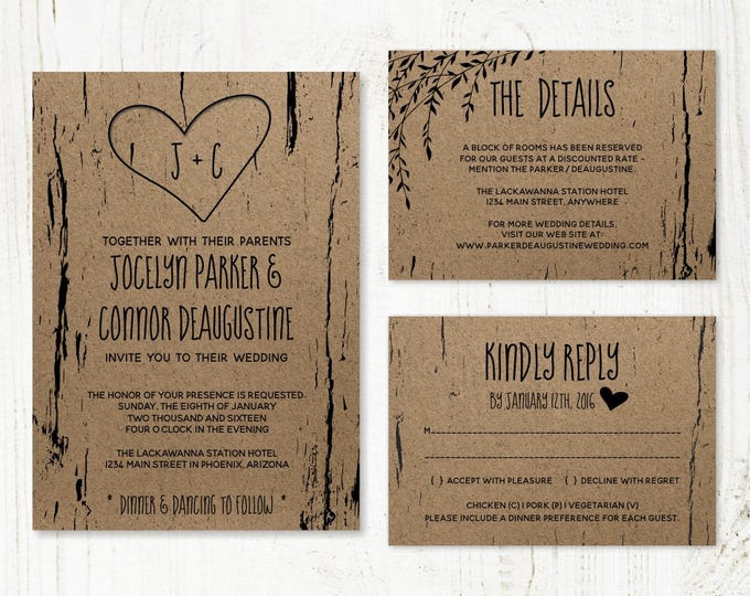 Featured listing image: Wedding Invitation Template - Printable Rustic Tree / Wood Carved Hearts & Initials - Kraft Paper Set | Instant Download Digital File Suite
