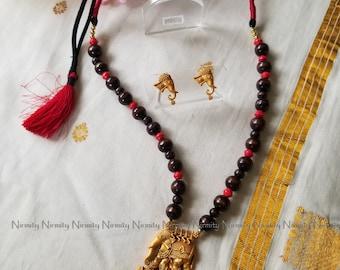 Temple jewelry-imitation jewelry-elephant-indian jewelry-metal jewelry-thread jewelry-dori necklace-fashion jewelry-bahubali jewelry