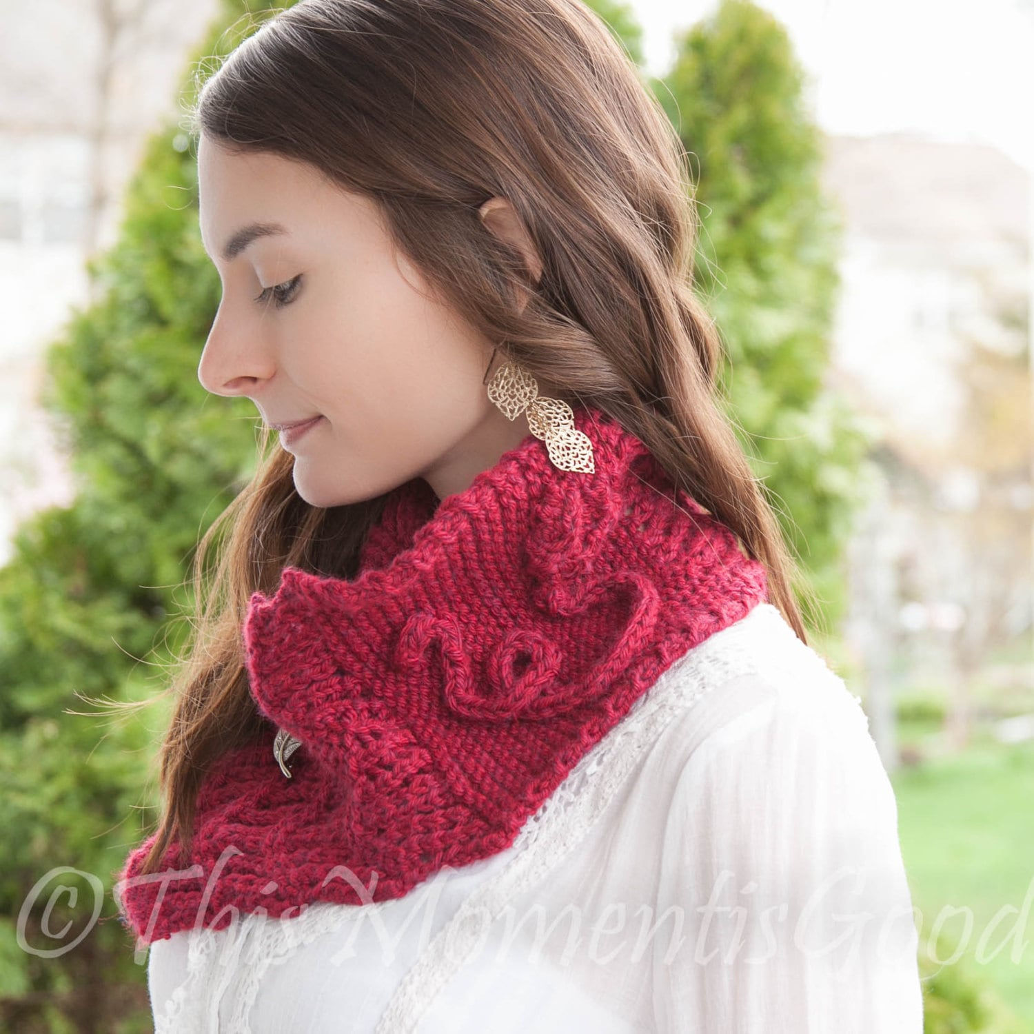 Loom Knit Cowl PATTERN with Rose detail, Scarf, Shawl, Lace Scarf ...