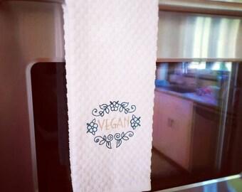 Vegan Kitchen Tea Towel, Decorative Hand Towel