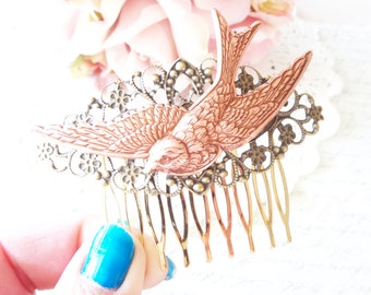 Rose Gold Flying Sparrow Hair Comb - Flying Swallow Hair Comb - Rose Gold Bird Hair Comb - Woodland Hair Comb - Bridal Hair Comb