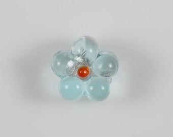 Set of 6 Pretty Pale Aqua Blue Flower Beads Lampwork Glass Bead