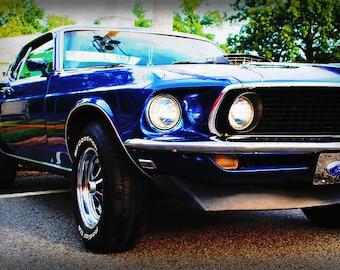 Automotive Art - 1969 Ford Mustang - Classic Car - Garage Art - Pop Art - Fine Art Photograph by Kelly Warren