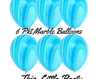 6 x Blue Marble Balloons - 28cm Party Balloon Decorations