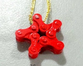 Red Bicycle Chain Star Ornamemt - Christmas Ornament, Bicycle Gift, Gear Ornament Up-cycled