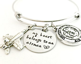 Airman Bracelet - Deployment Military Wife Jewelry - My Heart Belongs to an Airman Expandable Bangle - Airforce Wife Girlfriend Fiance Gift