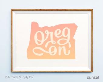 Oregon print - Oregon art - Oregon poster - Oregon wall art