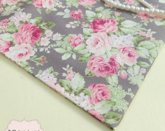Gray Floral Cotton Fabric Pink Gray Green Floral Fabric Sewing Fabric Floral Summer Fabric 100% Cotton Fabric For Craft