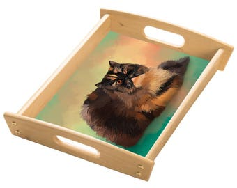 Persian Tortie Cat Wood Serving Tray with Handles Natural