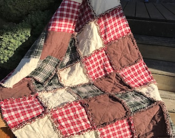 Lodge look Baby Rag Quilt, In Green Plaid, Tan, Red Plaid, and Brown. Handmade Quilt. Nursery bedding w Rustic look.