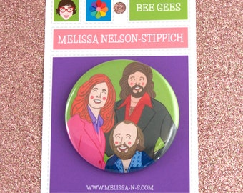 "Bee Gees Pocket Mirror print of original gouache painting 2.25"" Saturday Night Fever Staying Alive Disco Barry Robin Maurice"
